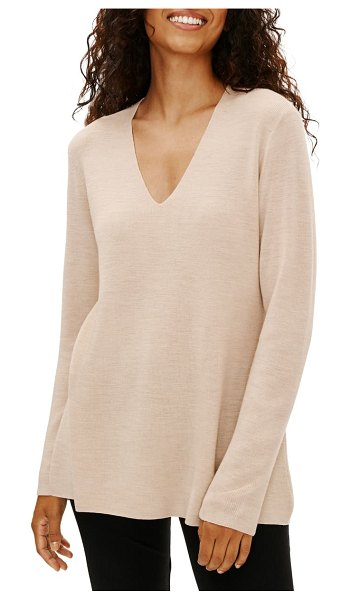 Eileen Fisher v-neck silk tunic top in cashew