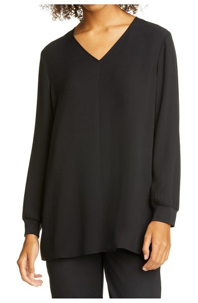 Eileen Fisher v-neck tunic top in black