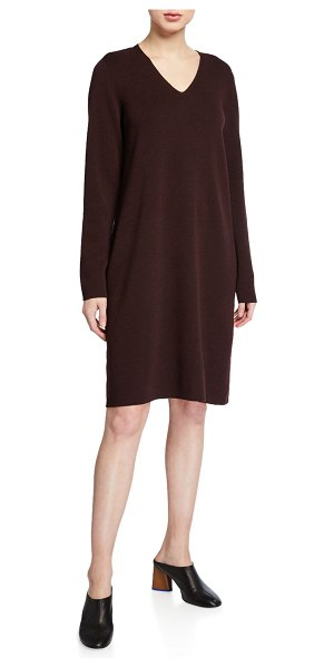 Eileen Fisher Washed Fine Wool Crepe V-Neck Long-Sleeve Dress in cassis