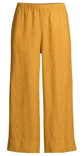 Eileen Fisher wide-leg linen pants in marigold,khaki