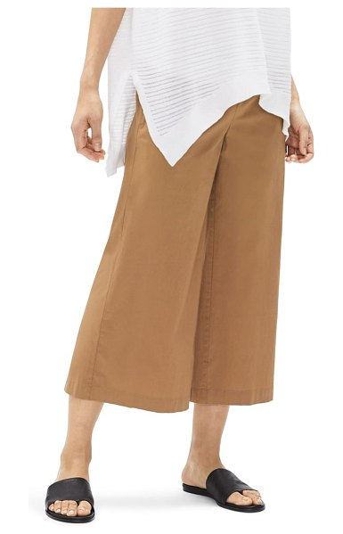 Eileen Fisher wide leg organic cotton crop pants in chestnut