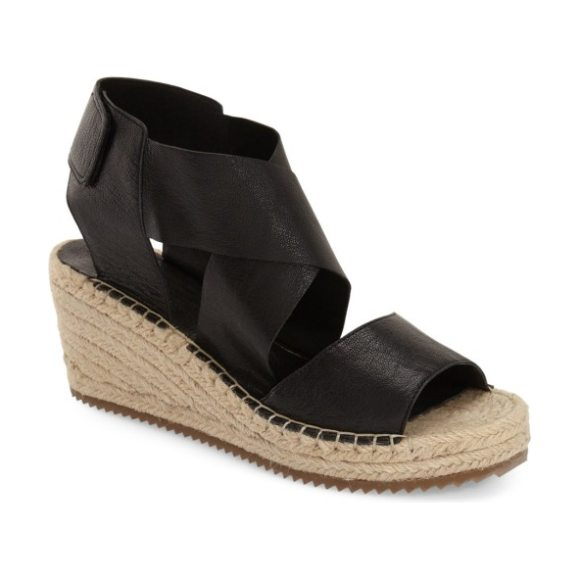 Eileen Fisher 'willow' espadrille wedge sandal in black