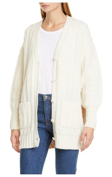 Eleven Six carla colorblock alpaca & merino wool blend cardigan in ivory pale camel