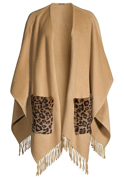 Elie Tahari carolina leopard-print kangaroo fur-pocket cape in camel
