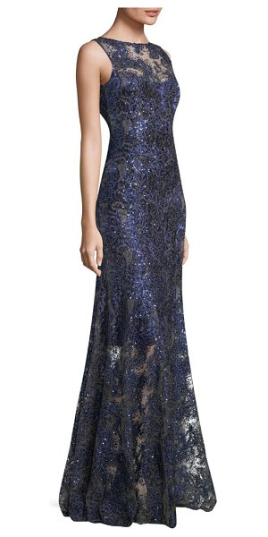 3cbcf726acb Elie Tahari embroidered floor-length gown in navy - Elegant sequined dress  with embroidered floral