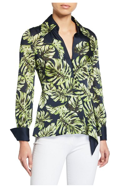 Elie Tahari Haylee Leaf-Print Long-Sleeve Silk Blouse in moss/stargazer