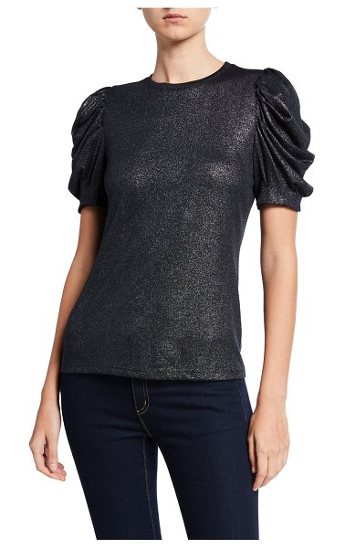 Elie Tahari Jessia Metallic Ruched-Sleeve Top in stargazer
