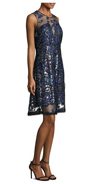 102a62ae2655 Elie Tahari Olive Embroidered Illusion Dress in Blue | Shopstasy
