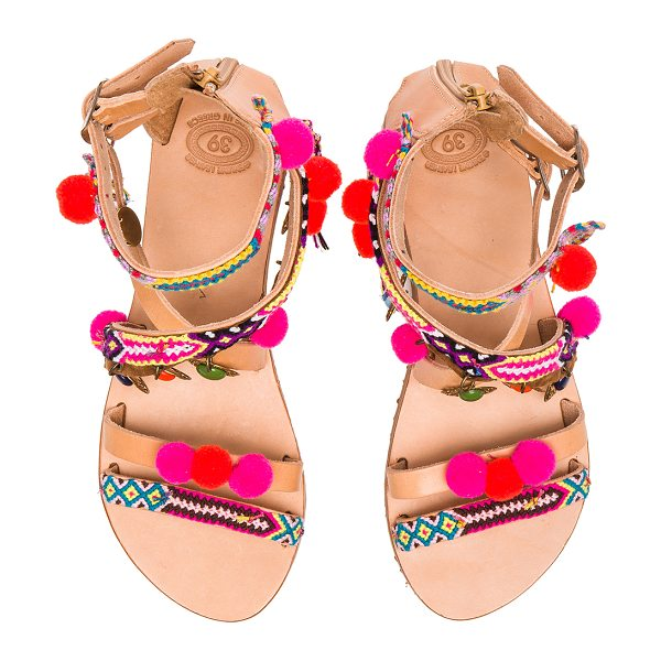 ELINA LINARDAKI Leather Gipsy Spell Sandals in neutrals,neon - Created by a mother daughter team, Elina Linardaki is a...