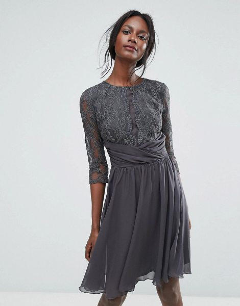 Elise Ryan Ruched Waist Lace Midi Dress With 3 4 Length Sleeve In