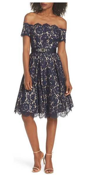 Eliza J Embellished Lace Fit Flare Dress In Blue Shopstasy