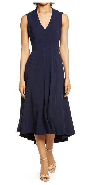 Eliza J high/low fit & flare dress in navy/navy