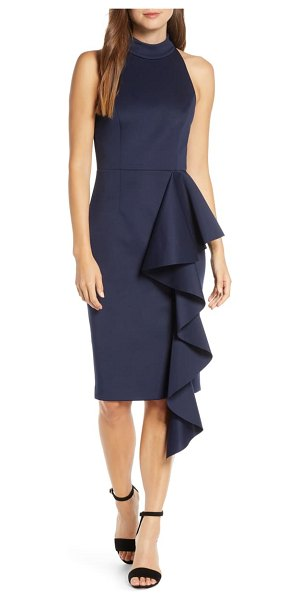 Eliza J ruffle sheath dress in navy