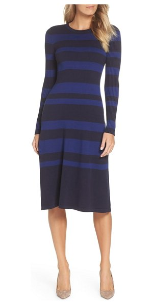 Eliza J stripe midi dress in navy