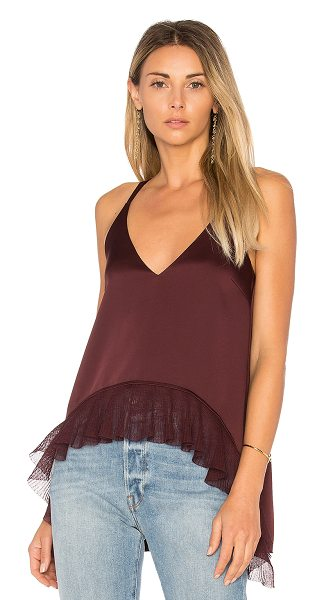 ELIZABETH AND JAMES Manette Ruffle Tank - Poly blend. Dry clean only. Shirred mesh hem. EAND-WS428....