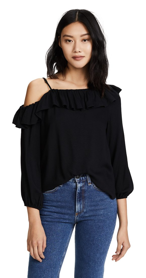 ELLA MOSS stella top - A flounced ruffle trims the asymmetrical neckline on...