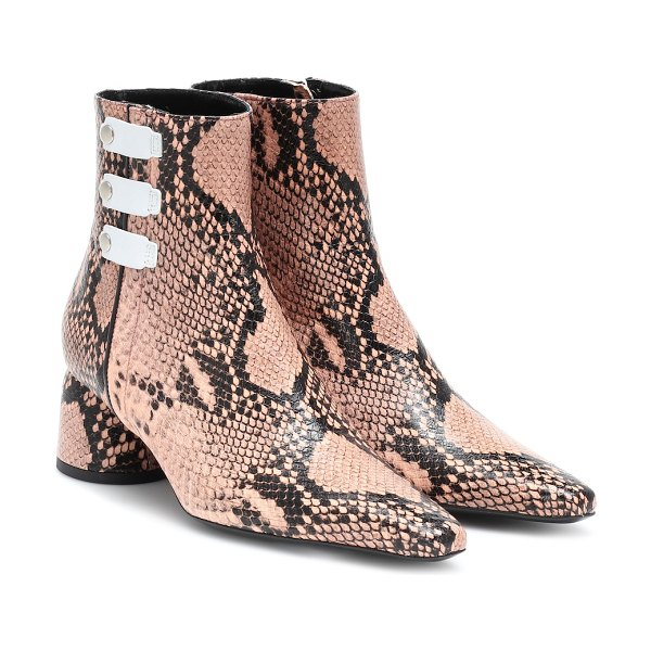 Ellery printed leather ankle boots in pink