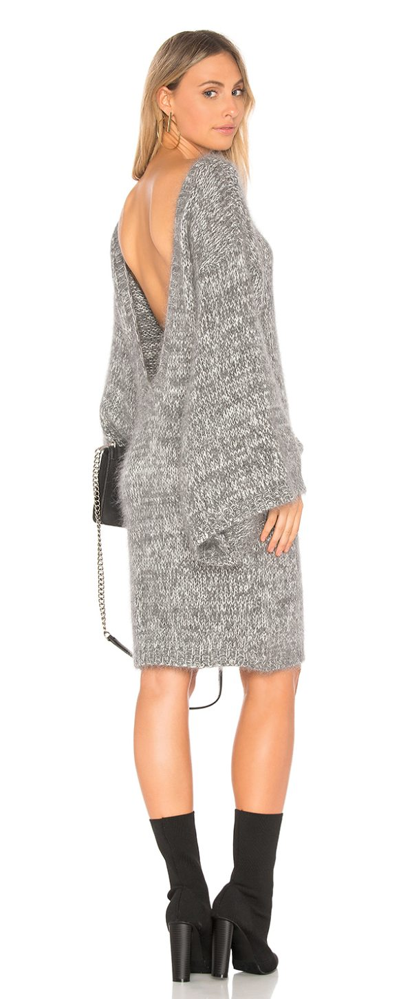 ELLIATT Orion Sweater Dress in gray - 50% acrylic 30% angora 20% nylon. Hand wash cold. Knit...