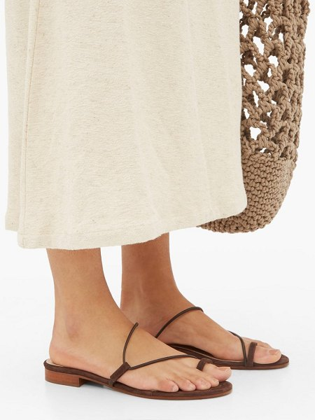 EMME PARSONS susan slide suede sandals in dark brown