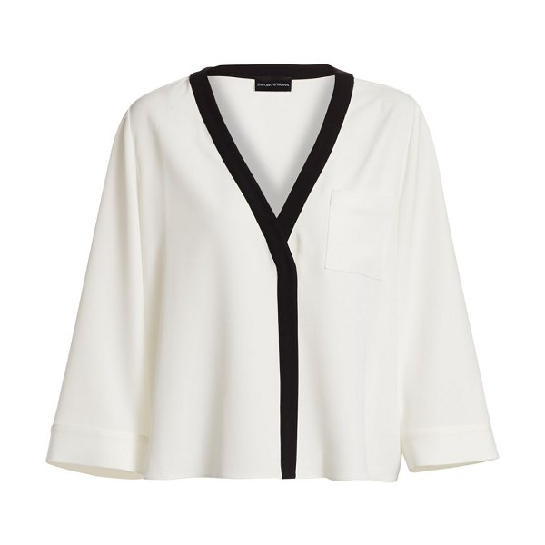 Emporio Armani colorblocked kimono blouse in off white