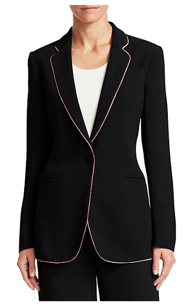 Emporio Armani contrast stripe one-button blazer in solid black - Pink piping outlines the front of this suit jacket,...
