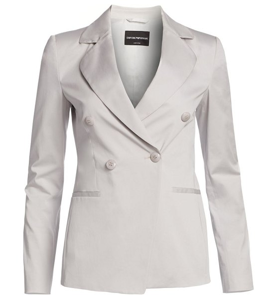 Emporio Armani double-breasted cotton gabardine jacket in grey - This blazer flaunts wider lapels and a double-breasted...