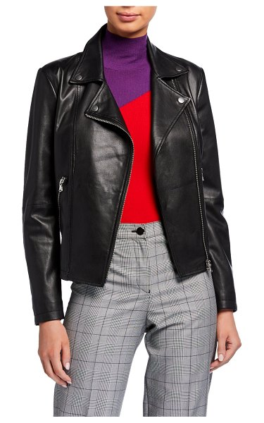 Emporio Armani Leather Moto Jacket in black