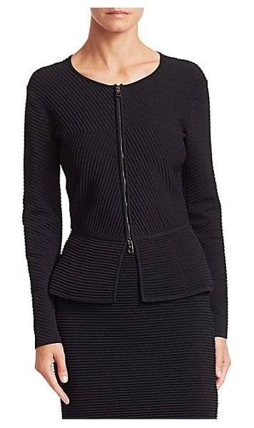 Emporio Armani ottoman peplum jacket in solid black - This form-fitting jacket gains texture from a...