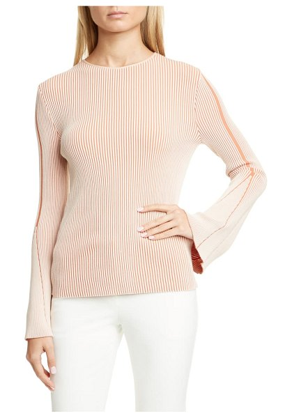 Emporio Armani ribbed flare sleeve sweater in red clay