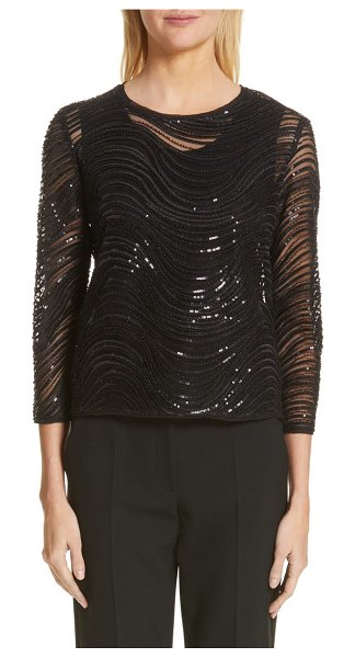 Emporio Armani sequin embellished overlay blouse in black