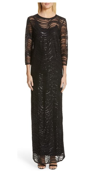 Emporio Armani sequin embellished overlay gown in black