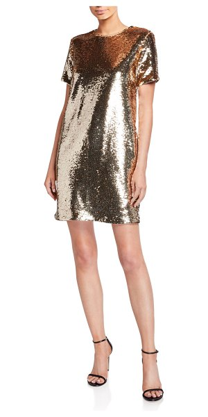 Emporio Armani Sequin Tunic T-Shirt Mini Dress in gold