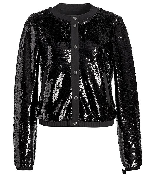 Emporio Armani sequined bomber in solid black - Allover sequins lift this bomber from a basic to an...