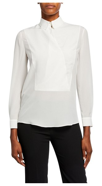 Emporio Armani Silk Pique Bibbed Blouse in white