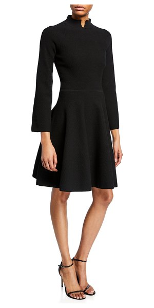Emporio Armani Split High-Neck Bracelet-Sleeve Dress in black