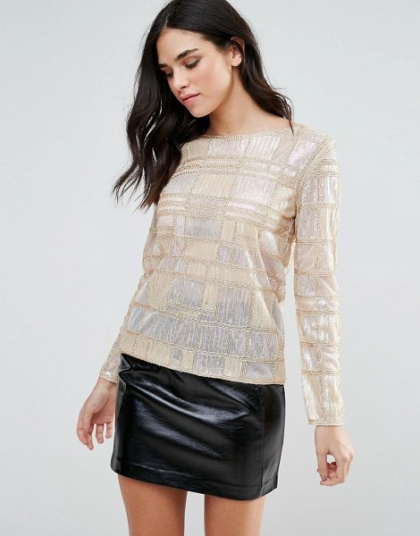 "endless rose Long Sleeve Geometric Embellished Top in gold - """"Top by Endless Rose, Midweight lined mesh, Boat neck,..."