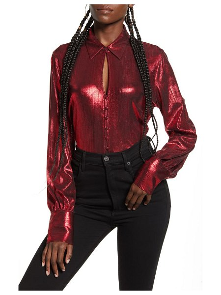 endless rose metallic textured button-up blouse in red