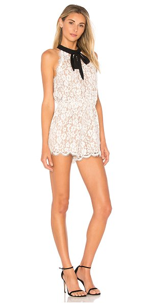 """endless rose Tied Ribbon Lace Romper in white - """"Self & Lining: 100% polyContrast: 95% poly 5% spandex...."""