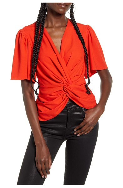 endless rose twist front ruffle sleeve blouse in red