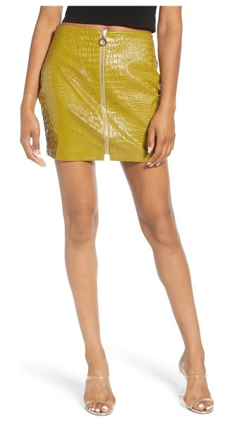 endless rose zip front croc embossed miniskirt in green