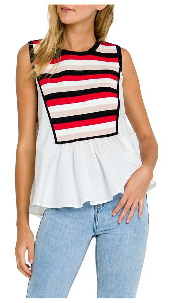 ENGLISH FACTORY Colorblock Mix Poplin Top in red multi