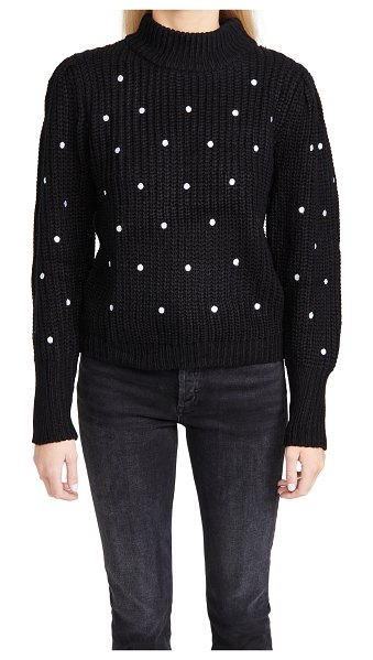 ENGLISH FACTORY dot embroidered sweater in black/white