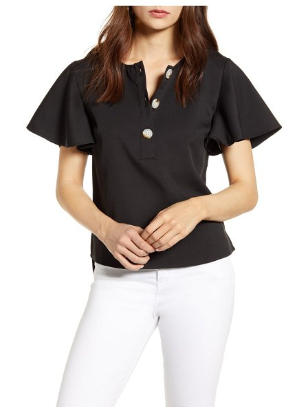 ENGLISH FACTORY flutter sleeve henley top in black