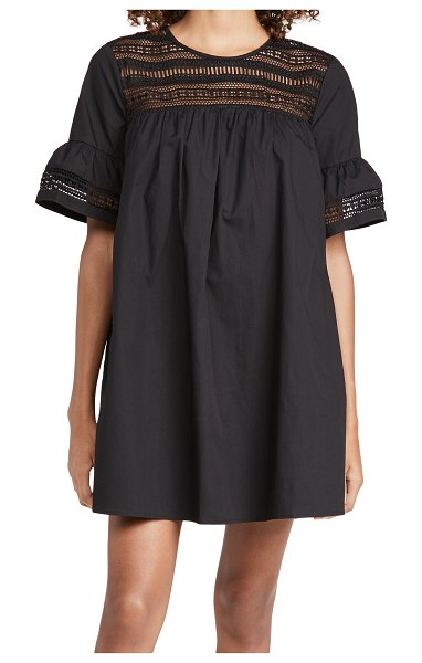 ENGLISH FACTORY lace trim dress in black
