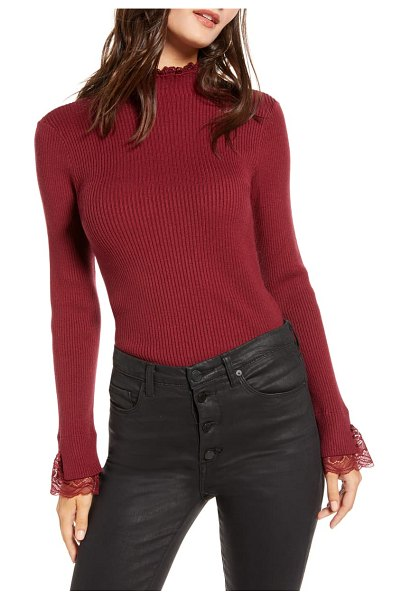 ENGLISH FACTORY lace trim ribbed sweater in burgundy