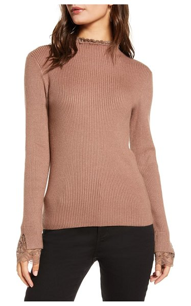 ENGLISH FACTORY lace trim ribbed sweater in camel
