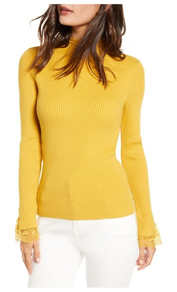 ENGLISH FACTORY lace trim ribbed sweater in yellow
