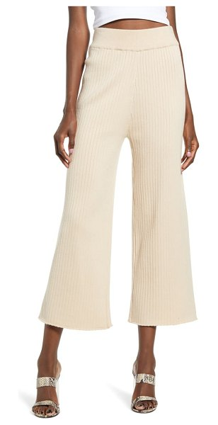 ENGLISH FACTORY ribbed knit crop wide leg pants in beige
