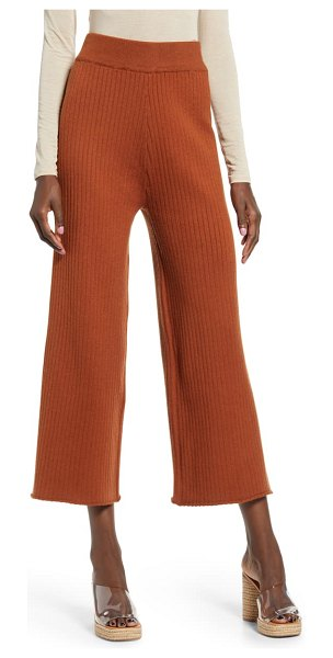 ENGLISH FACTORY ribbed knit crop wide leg pants in brown