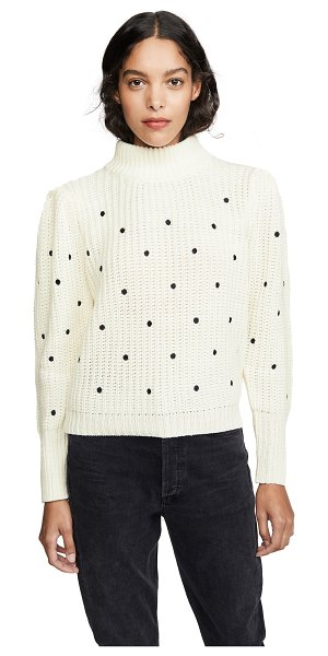 ENGLISH FACTORY ruffle smocked dot embroidered sweater in white